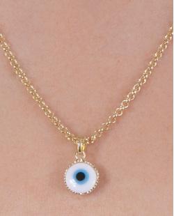 Colar folheado de metal dourado com olho grego Alessandra