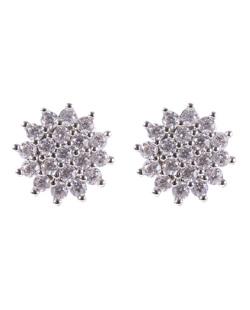 Brinco pequeno de metal prateado com strass cristal Maura