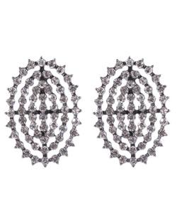 Brinco pequeno de metal grafite com strass cristal Fernanda