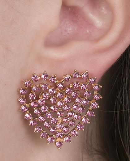 Brinco pequeno de metal dourado com strass rosa Ronda