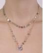 Colar de metal dourado com pedra cristal Livia