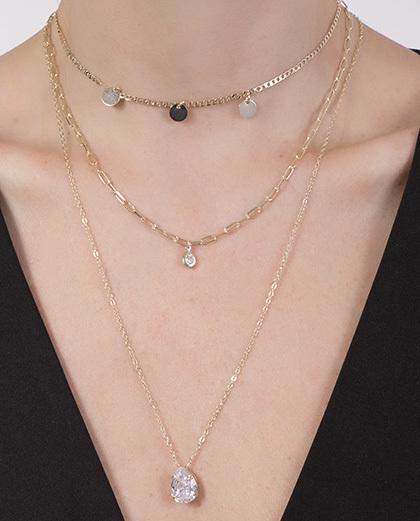 Kit 3 Colares de metal dourado com pedra cristal Luana