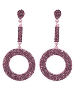 Maxi Brinco de courino rosa com strass rosa Betina