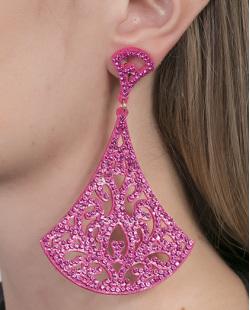 Maxi Brinco de courino pink com strass pink Sonia
