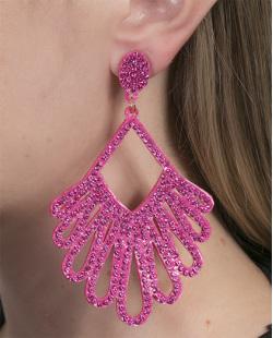 Maxi Brinco de courino pink com strass pink Silvia