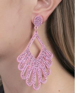 Maxi Brinco de courino rosa com strass rosa Silvia