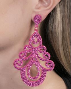 Maxi Brinco de courino pink com strass pink Martina