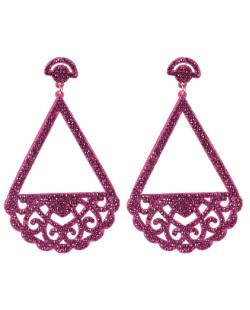 Maxi Brinco de courino pink com strass pink Marcele