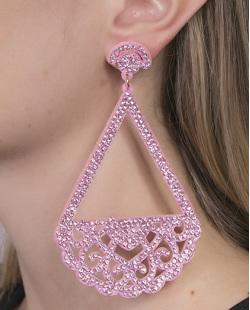 Maxi Brinco de courino rosa com strass rosa Marcele