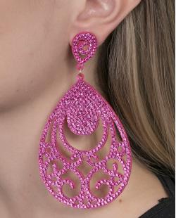 Maxi Brinco de courino pink com strass pink Debora