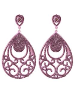 Maxi Brinco de courino rosa com strass rosa Debora