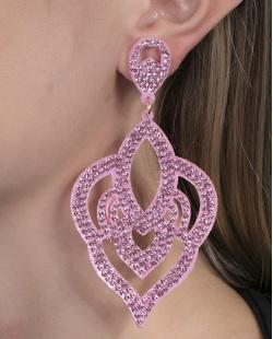 Maxi Brinco de courino rosa com strass rosa Diana