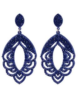 Maxi Brinco de courino azul com strass azul Eliana