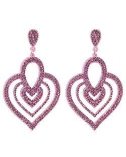 Maxi Brinco de courino rosa com strass rosa Naira