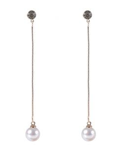 Maxi Brinco de metal dourado com pedra cristal e pérola Felipa