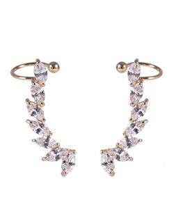 Ear cuff de metal dourado com pedra cristal Poliana