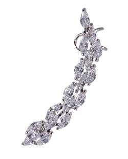 Ear cuff de metal prateado com pedra cristal Silvia