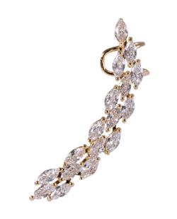 Ear cuff de metal dourado com pedra cristal Silvia