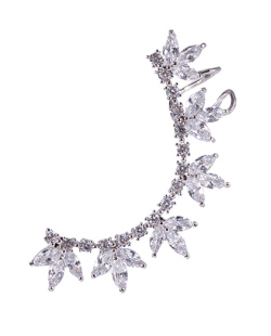 Ear cuff de metal prateado com pedra cristal Janete