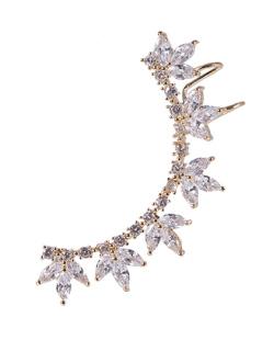 Ear cuff de metal dourado com pedra cristal Janete