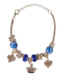 Pulseira de metal dourado com pedra azul Juçara