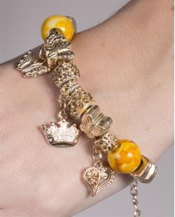 Pulseira de metal dourado com pedra amarela Juçara