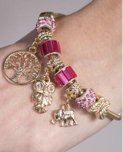 Pulseira de metal dourado com pedra rosa Vivian
