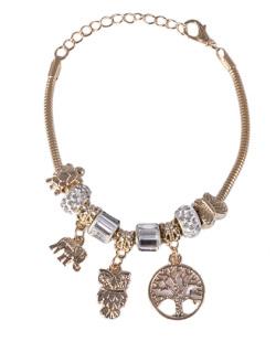 Pulseira de metal dourado com pedra cristal Vivian