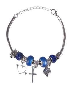 Pulseira de metal prateado com pedra azul Lorena
