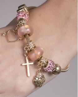 Pulseira de metal dourado com pedra rosa Lorena