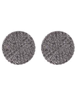 Brinco pequeno de metal prateado com strass cristal Daiane