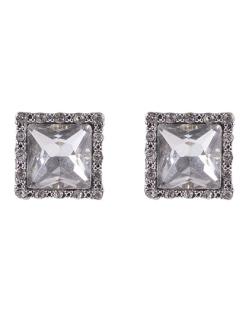 Brinco pequeno de metal prateado com pedra cristal Claudete