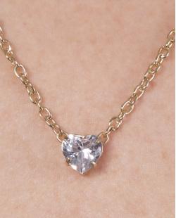 Colar de metal dourado com pedra cristal Talia