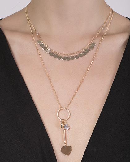 Colar de metal dourado com pedra cristal Talita