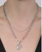 Colar de metal prateado com strass cristal Margarida