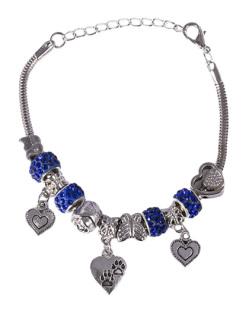 Pulseira de metal prateado com pedra azul Barbara