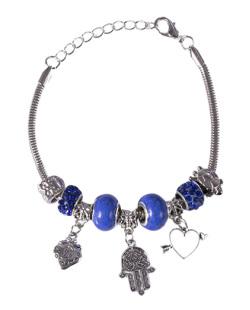 Pulseira de metal prateado com pedra azul Lurdes