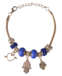 Pulseira de metal dourado com pedra azul Lurdes