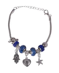 Pulseira de metal prateado com pedra azul Patricia