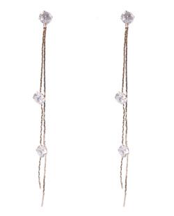 Maxi Brinco de metal dourado com pedra cristal Marlene