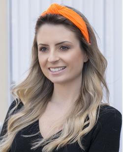 Tiara de tecido laranja neon Clara