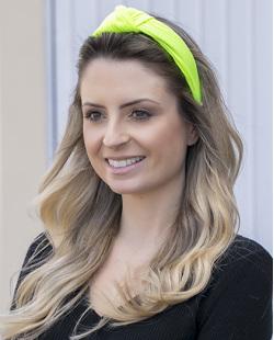 Tiara de tecido amarelo neon Clara