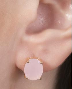 Brinco pequeno de metal dourado com pedra rosa Graciane