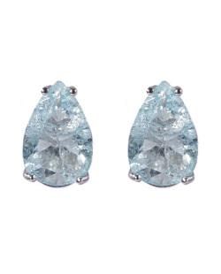 Brinco pequeno de metal prateado com pedra fusion azul Joseane