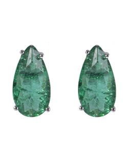 Brinco pequeno de metal prateado com pedra fusion verde Fabiane