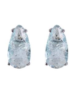 Brinco pequeno de metal prateado com pedra fusion azul Fabiane