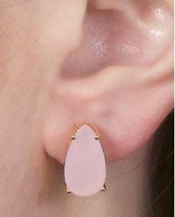 Brinco pequeno de metal dourado com pedra rosa Fabiane