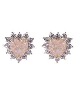 Brinco pequeno de metal dourado com pedra rosé e strass cristal Mariane