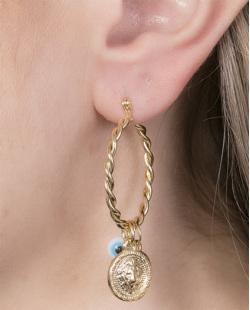Brinco de argola de metal dourado com olho grego branco Samantha