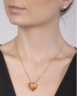 Kit colar mais brinco de metal dourado com pedra rosé Olívia